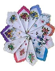 FTSUCQ Mens/Boys Gentleman Vintage Checkered Casual Hankie Cotton Classic Handkerchiefs