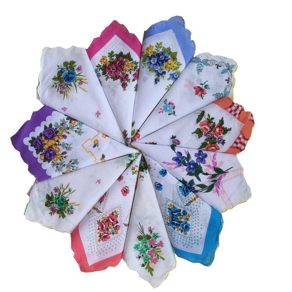FTSUCQ Womens/Girls Vintage Multi Floral Wedding Party Cotton Handkerchiefs 12pcs Sets