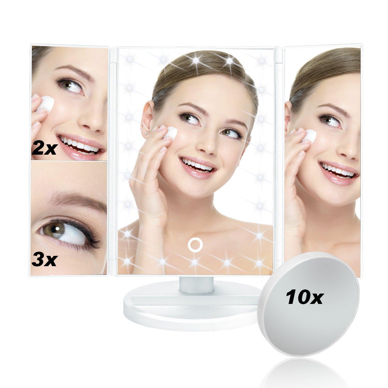 Specchio Illuminato per Trucco 22LED Specchio per il trucco con triplo schermo illuminato Touch Screen 3X/2X/1X Ingrandimento Caricabatterie USB Supporto 180 gradi di rotazione Specchio Cosmetic Huston Lowell