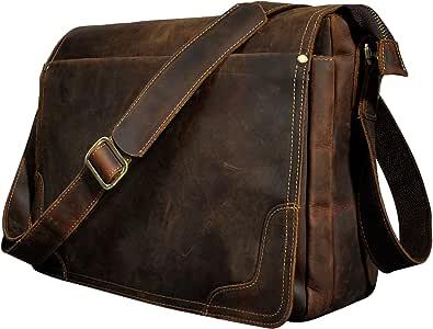 "Le'aokuu Mens Cowhide Leather Briefcase Sling Messenger Shoulder 14"" Laptop Case Bags Cross Body (Brown 1)"