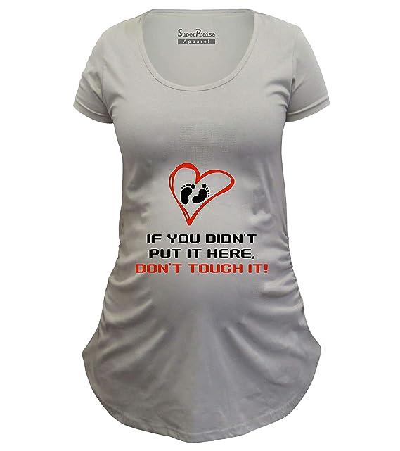23c202f2e Pregnancy Don't Touch It Funny Slogan Maternity T Shirt: Amazon.co.uk:  Clothing