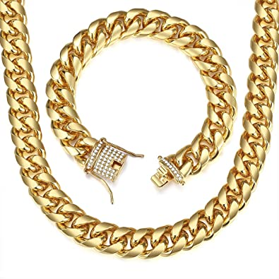 Trendsmax 14mm Mens Womens Hip Hop Iced Out Miami Curb Cuban Necklace  Bracelet Set Chain Gold Plated Paved Cubic Zirconia Jewellery Set 9inch  24inch  ... eb8487d74