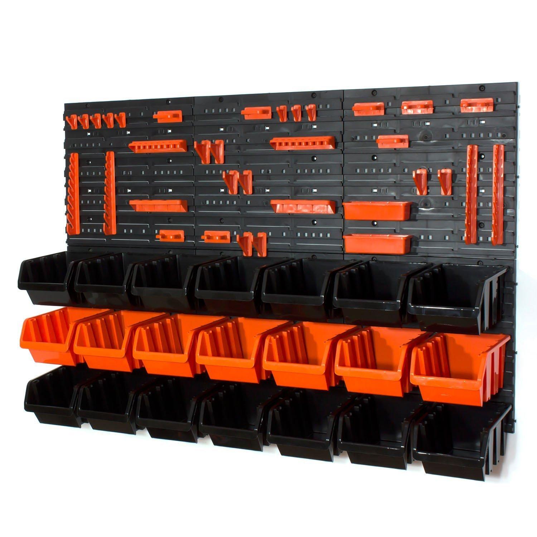 Lot de 21 L en noir et orange et orange boites avec supports, porte-outils Prosperplast