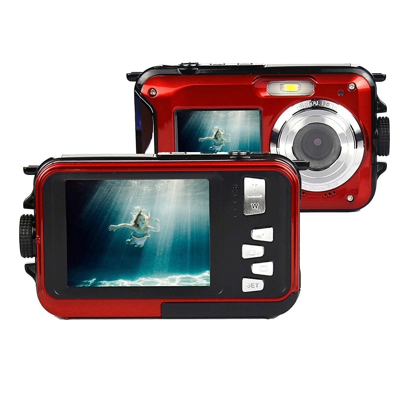 Promoción por tiempo limitado PowerLead doble pantalla impermeable cámara digital de 2,7 pulgadas LCD frontal con 2.7 inch cámara