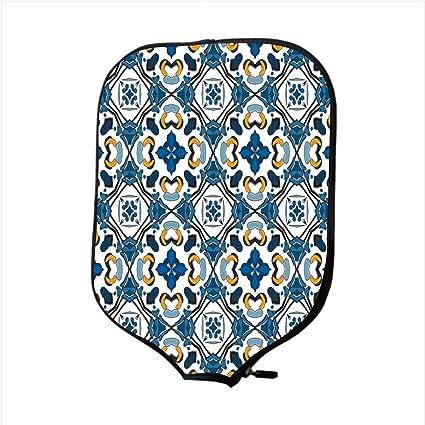 Neoprene Pickleball Paddle Racket Cover Case,Traditional House Decor,Portuguese Ceramic Classic Tilework Building