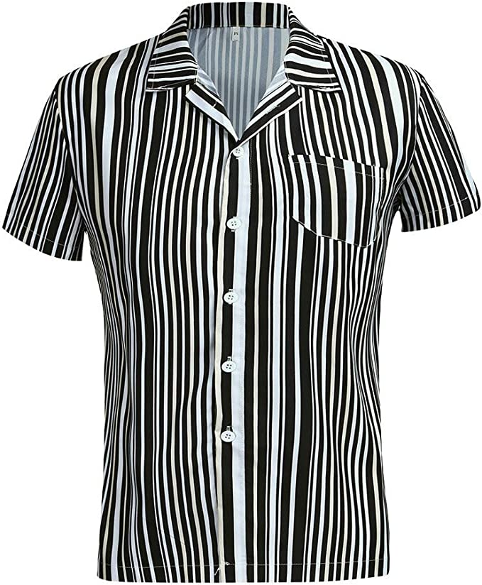 black and white striped button down shirt