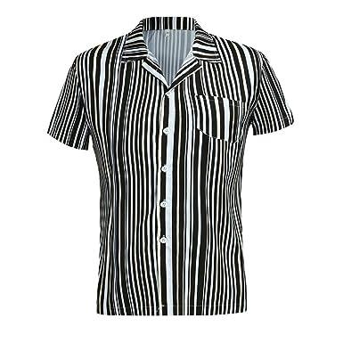 Amazon.com: NANTE Camisa para hombre casual blusa estampado ...