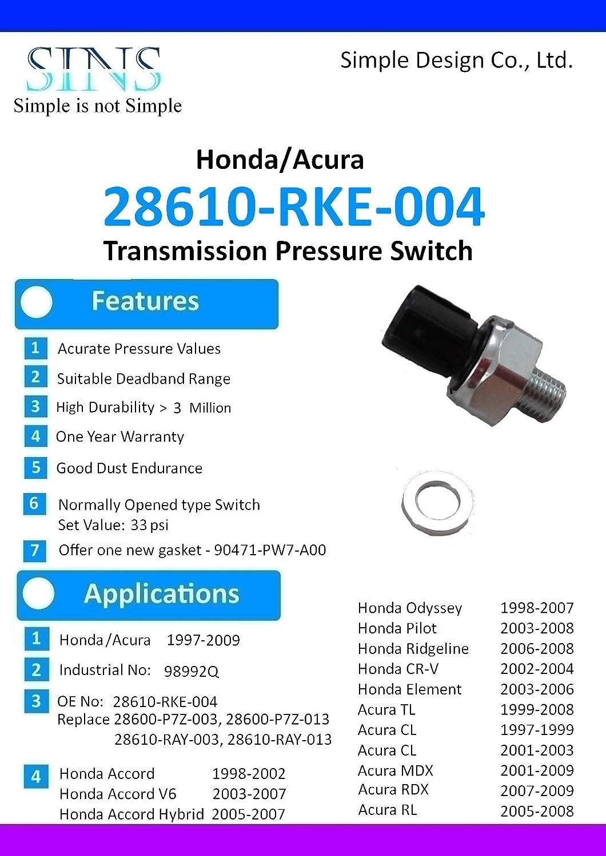 Accord Hybrid Odyssey CR-V Element Pilot Ridgeline TL CL MDX RDX RL Transmission Pressure Switch 28610-RKE-004 SINS