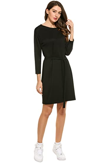 Meaneor Womens Casual Long Sleeve Tie Waist Wrap Dress Crew Neck At