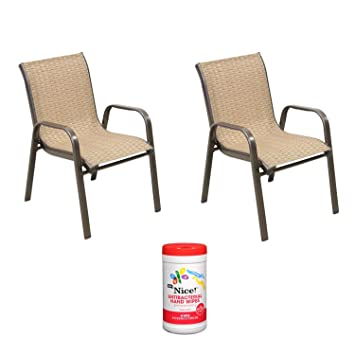 kids outdoor stacking patio chair in brown with hand wipes - Stackable Patio Chairs
