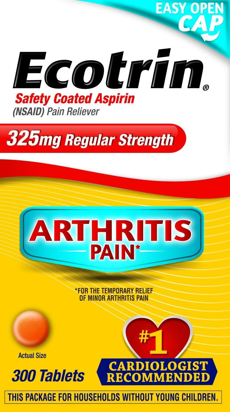Ecotrin Regular Strength 325 Mg Aspirin for Arthritis, Safety Coated Aspirin-Pain Reliever, 300 Tablets