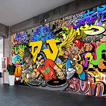 3d Personality Music Hip Hop Wallpaper Bar Ktv Dance Studio Background Wall Painting Gym Hip Hop Graffiti Wallpaper 200cmx140cm Amazon Com