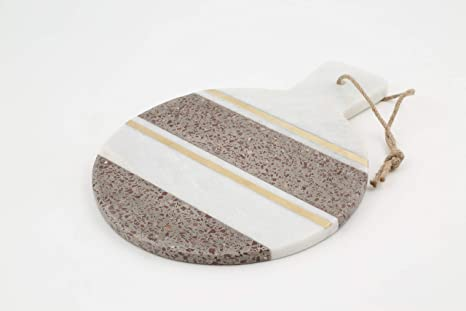 Thirstystone Nm392 Terrazzo Serving Board One Size White Marble Mad Burgundy Brass Inlay