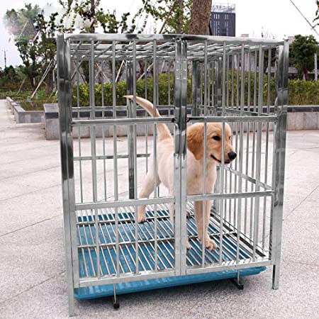 WENFF Jaula Metálica para Perros Porta Perros con Bandeja Jaula para Cachorros Caja Plegable para Perros Porta Perros,L: Amazon.es: Hogar