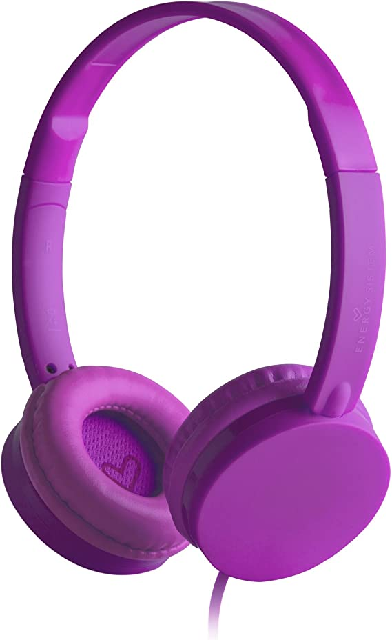 Energy Headphones Colors Grape Mic (ultraligeros y con Cable Plano ...