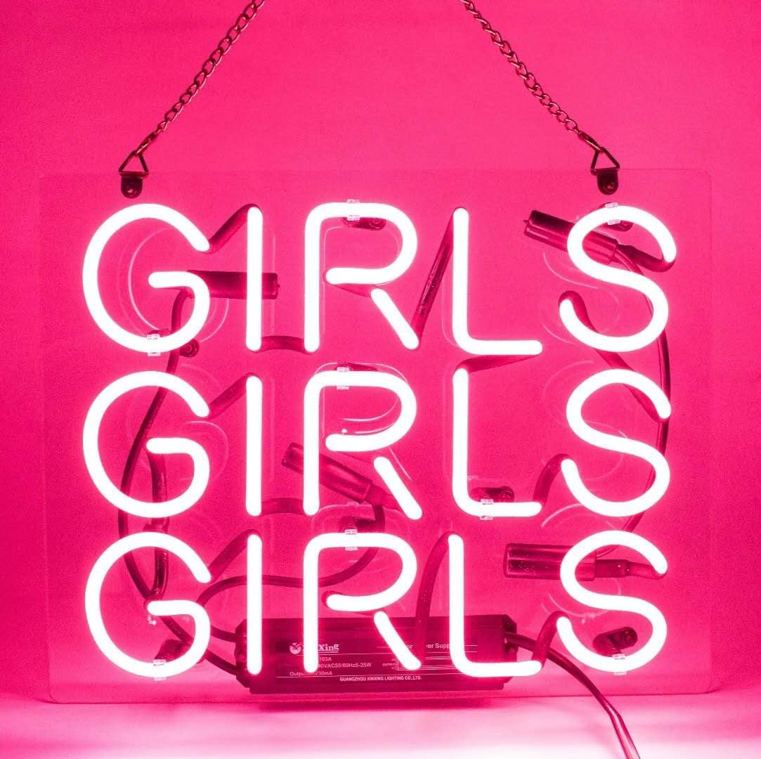 Neon Signs Girl Girls Girls Neon Signs Girl Wall Decor Neon Light Sign Led Sign for Bedroom Neon Words Cool Art Neon Sign Cute Neon Lamps Home Room Beer Bar Custom Red Neon Wall Light