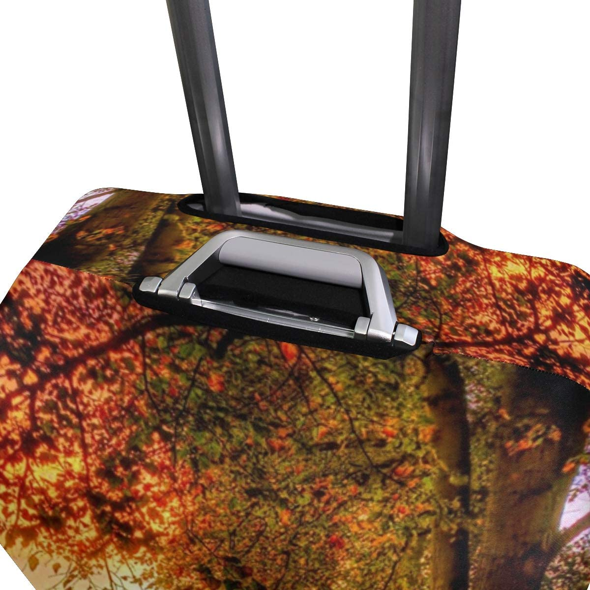 Park Autumn Scenery Red Leaves Road Fence suitcase cover elastic suitcase cover zipper luggage case removable cleaning suitable for 29-32 trunk cover