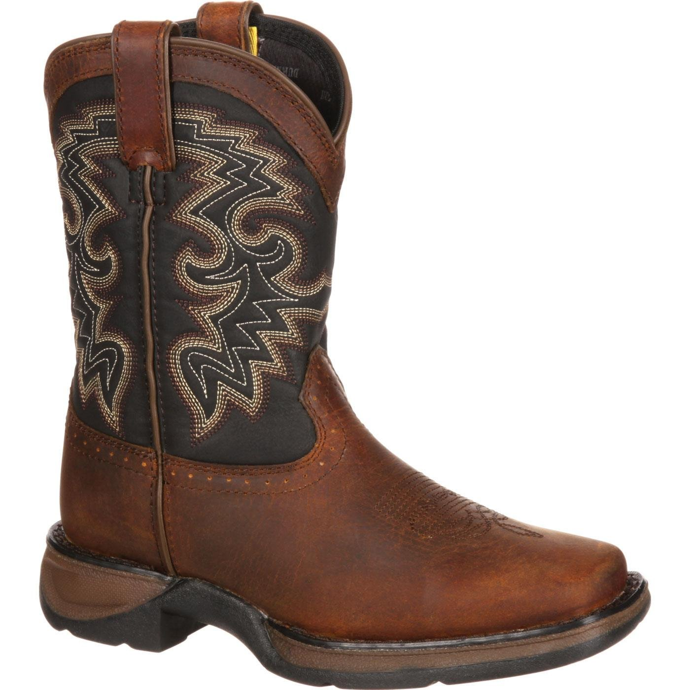 Durango Kids Leather Square Toe Western Cowboy Boot (12.5)