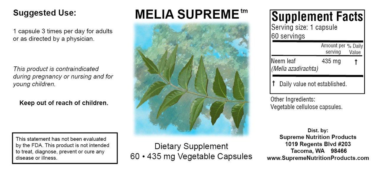 Supreme Nutrition Melia Supreme, 60 Powdered Neem Leaf Caps