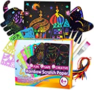 ZMLM Scratch Paper Art Set for Kids - 107 Pcs Rainbow Magic Scratch Off Arts and Crafts Supplies Kits Sheet Pack for Children