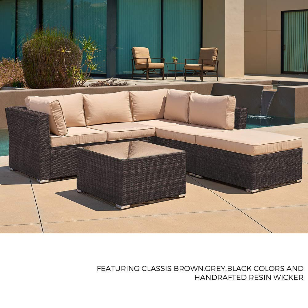 SUNCROWN Outdoor Patio Furniture Sectional Sofa (4 Piece Set) All Weather Brown Checkered Wicker with Beige Washable Seat Cushions and Glass Coffee ...