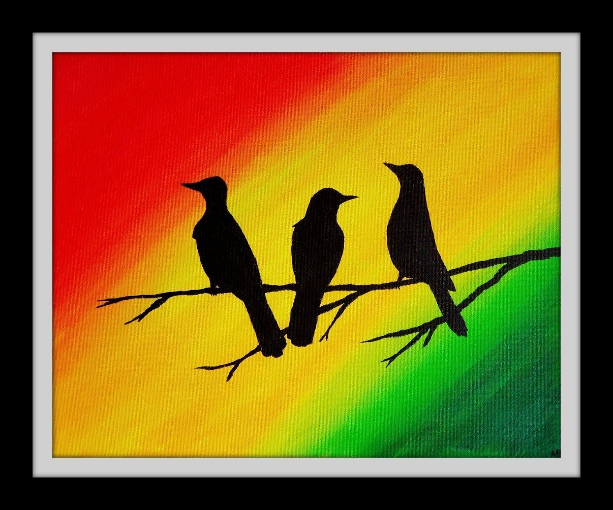Amazon.com: Three Little Birds Wall Art Rasta Decor 8x10 Inch Art ...
