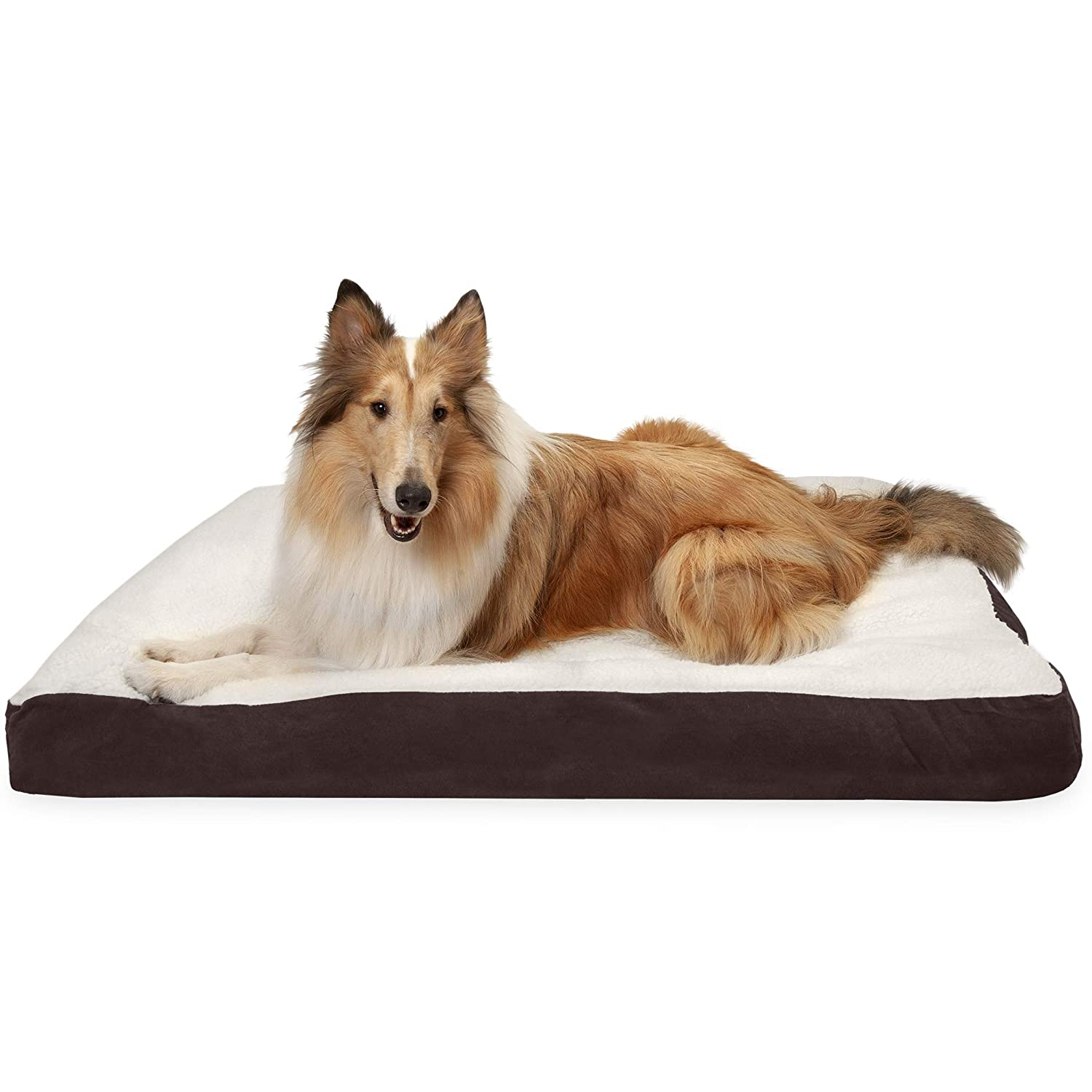 FurHaven Pet Dog Bed   Deluxe Sherpa & Suede Pillow Pet Bed for Dogs & Cats, Espresso, Jumbo