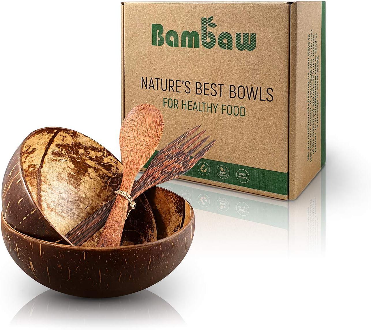 Set de Boles de Coco con Cubiertos | Tazones de Coco Natural | Bol de Madera Hecho con cáscaras de Coco | Hechos en Bali | Coconut Bowl | Cuenco de Madera | Bol de Coco Natural | Acai Bowl