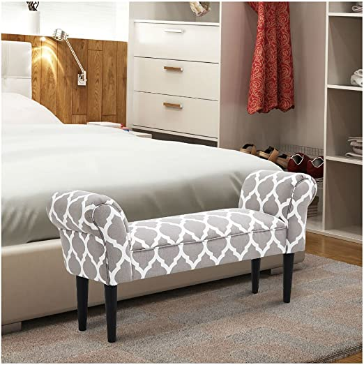 Amazon Com Grey And White Vintage Bed Bench Armed Ottoman
