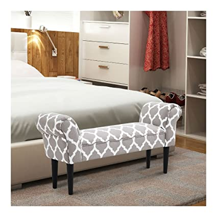 Enjoyable Amazon Com Grey And White Vintage Bed Bench Armed Ottoman Andrewgaddart Wooden Chair Designs For Living Room Andrewgaddartcom
