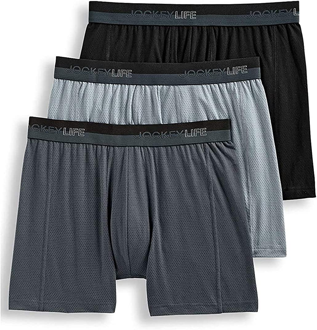 Jockey Life Men's 3-Pack Breathe Cotton Mesh Stretch Boxer Briefs - Assorted