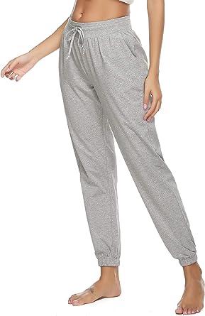 Vlazom Algodón Pantalones Largas Mujer Verano para Pijamas y Desportivas, Pantalones de Pijamas Suave y Transpirable S-XXL: Amazon.es: Ropa y accesorios