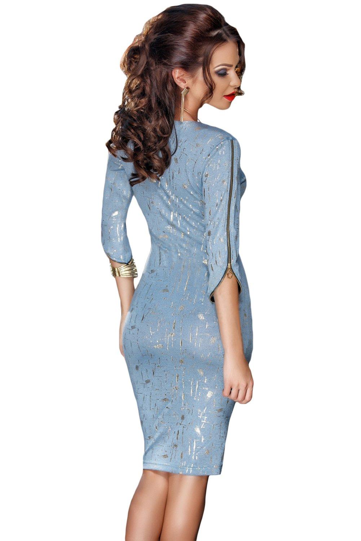 Nueva luz azul y plata de la mujer cremallera vestido bodycon vestido oficina vestido casual noche fiesta wear tamaño M UK 10 - 12 EU 38 - 40: Amazon.es: ...