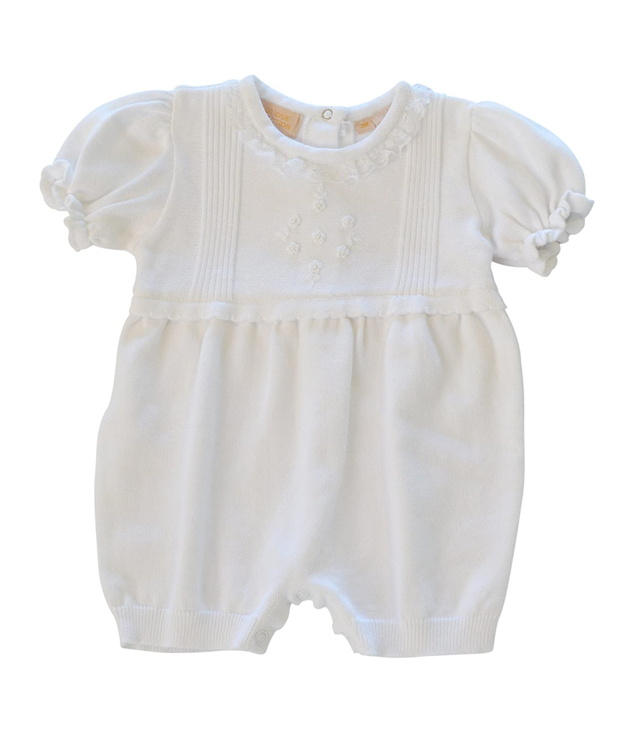 Boutique Collection Baby Girl's Knit Christening Bloomer W/Flower Detail