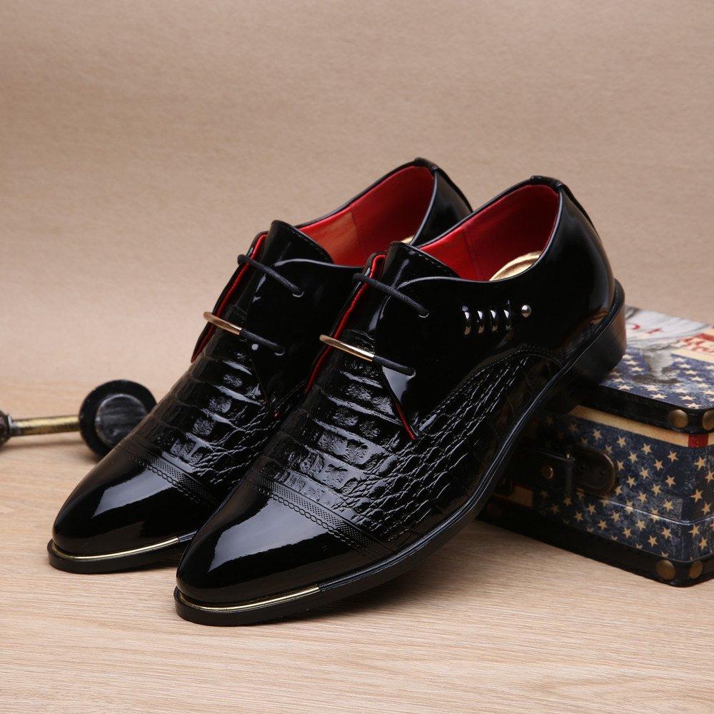 AIMENGA Zapatos De Hombre Patentes De Cuero Zapatos De Negocios Puntiagudos para Hombres Zapatos De Cocodrilo para Hombres con Charol Brillante XHMENG