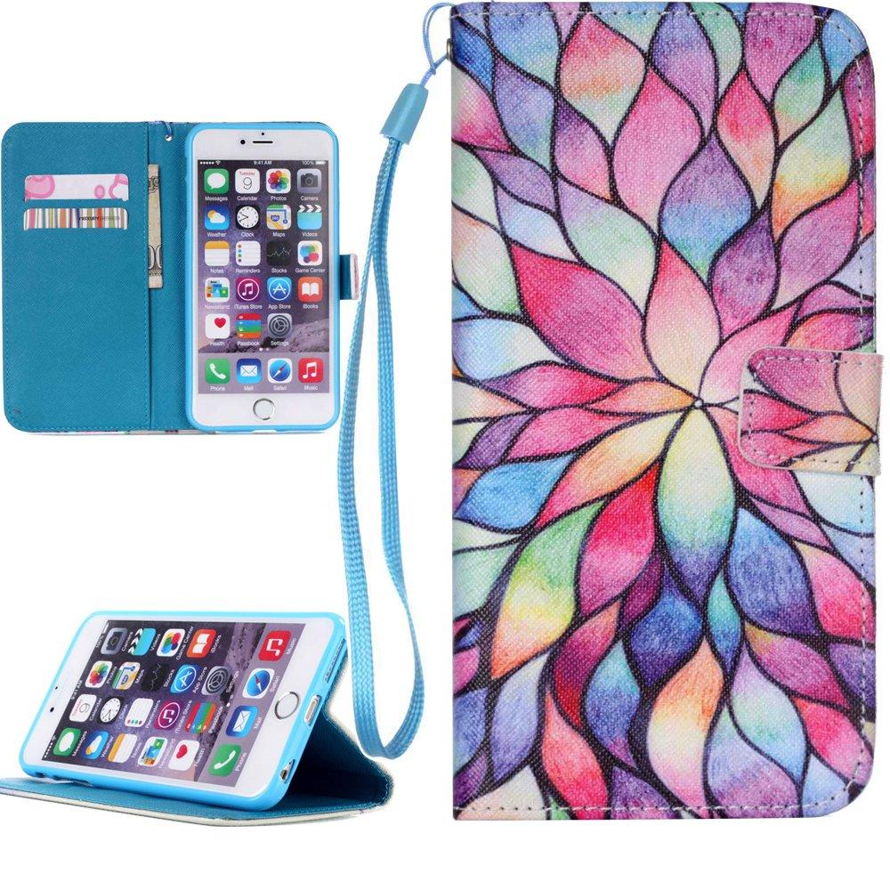 Dooki, iPhone 6 / 6S Coque, Supporter Flip Pochette Portefeuille PU Cuir Couverture Housse Coque Etui pour iPhone 6S / 6 avec Crédit Carte Tenant Fente (WR3)