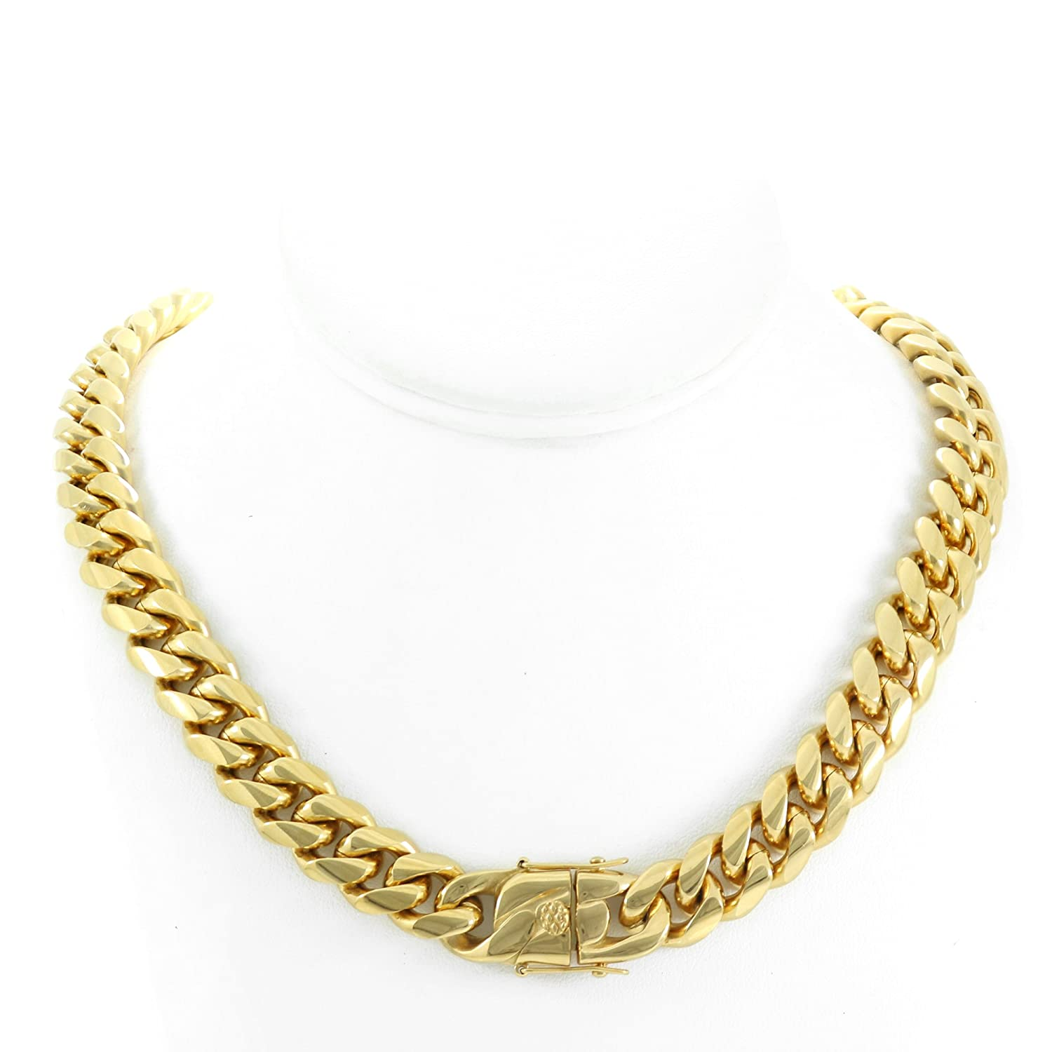 Solid 14k Yellow Gold Finish Stainless Steel 14mm Thick Miami Cuban Link Chain Box Clasp Lock