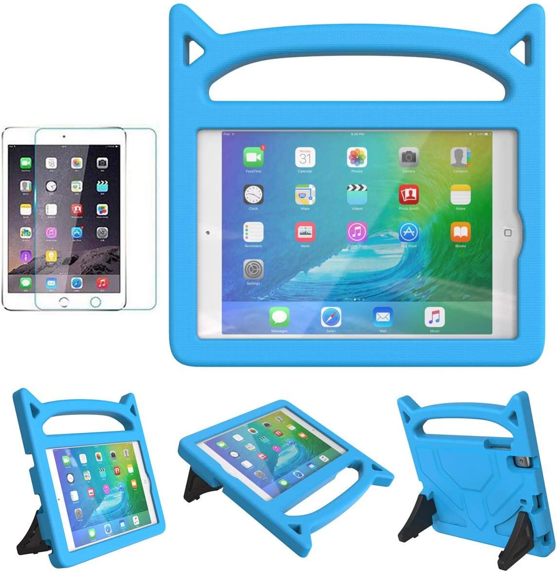 MOXOTEK Kids Case for iPad Mini 1 2 3 4 5, Cute Durable Shockproof Protective Handle Stand Case with Screen Protector for Apple 7.9 inch iPad Mini 5th (2019),4th,3rd,2nd,1st Generation, Blue