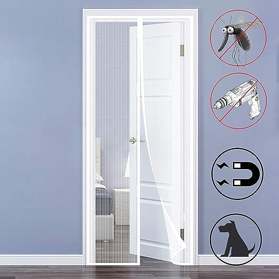 SODKK Cortina Mosquitera para Puertas 155x215cm, Blanco Mosquitera Magnética para Puertas, Apagar Automáticamente, Velcro Adhesiva, Bueno para Niños y Perros: Amazon.es: Hogar