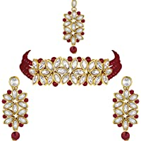 Aheli Pearl Faux Kundan Choker Necklace with Earring Maang Tikka Indian Traditional Bollywood Ethnic Bridal Jewelry Set…