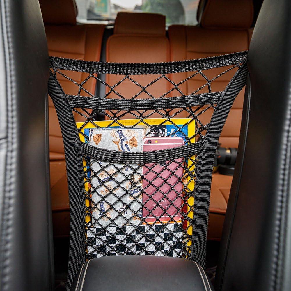 Mictuning 2 Schicht Auto Organizer Netz Tasche Kofferraum Netz Speicher Verdickungsnetz Handy Kind Spielzeugdung Schutznetz Auto