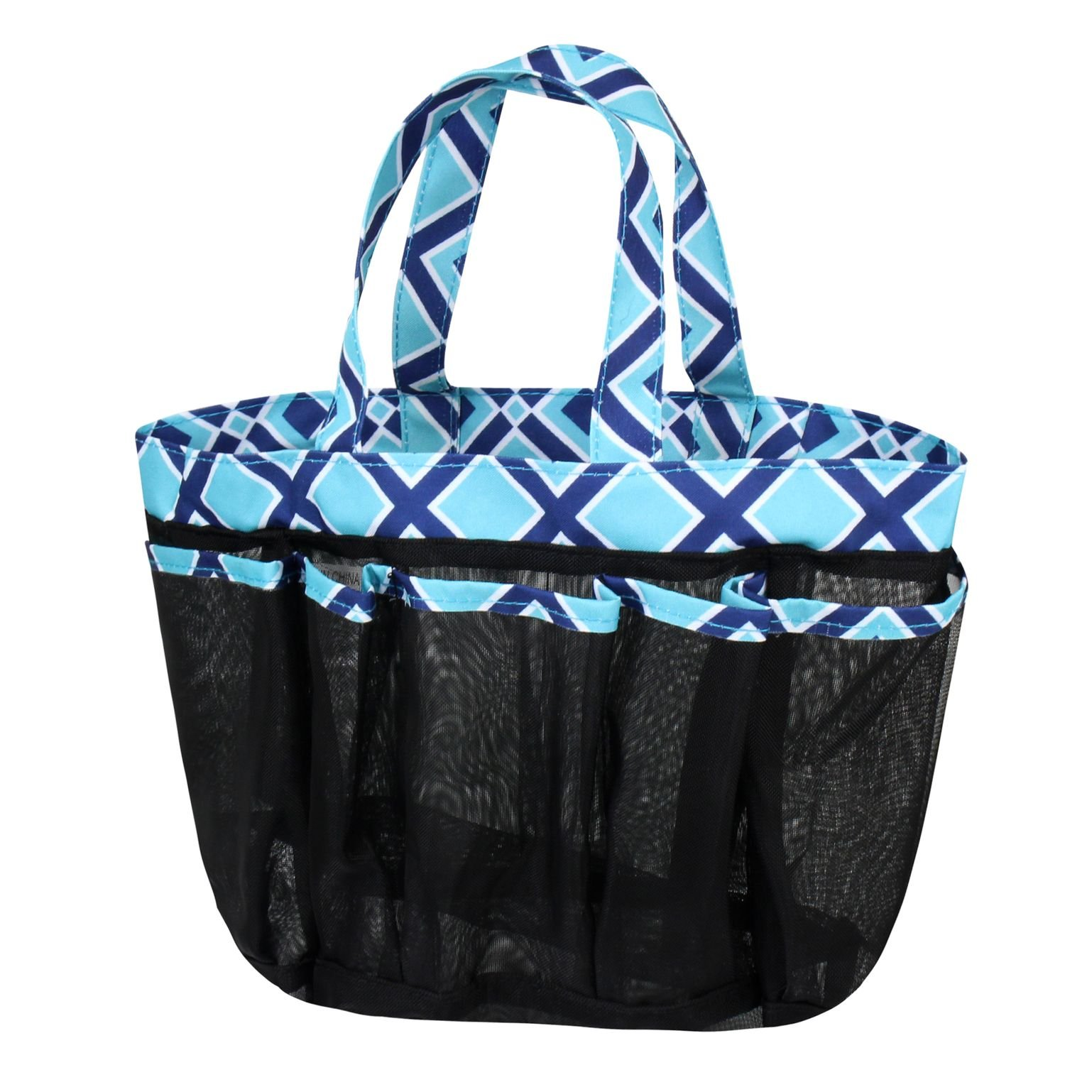 Zodaca Mesh Shower Caddie Tote Bag, Navy/Turquoise Times Square