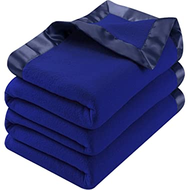Utopia Bedding Polar Fleece Premium Bed Blanket with Sateen Ribbon Edges - Extra Soft Brushed Microfiber - Lightweight, Cozy and Durable - Machine Washable (Queen, Navy)