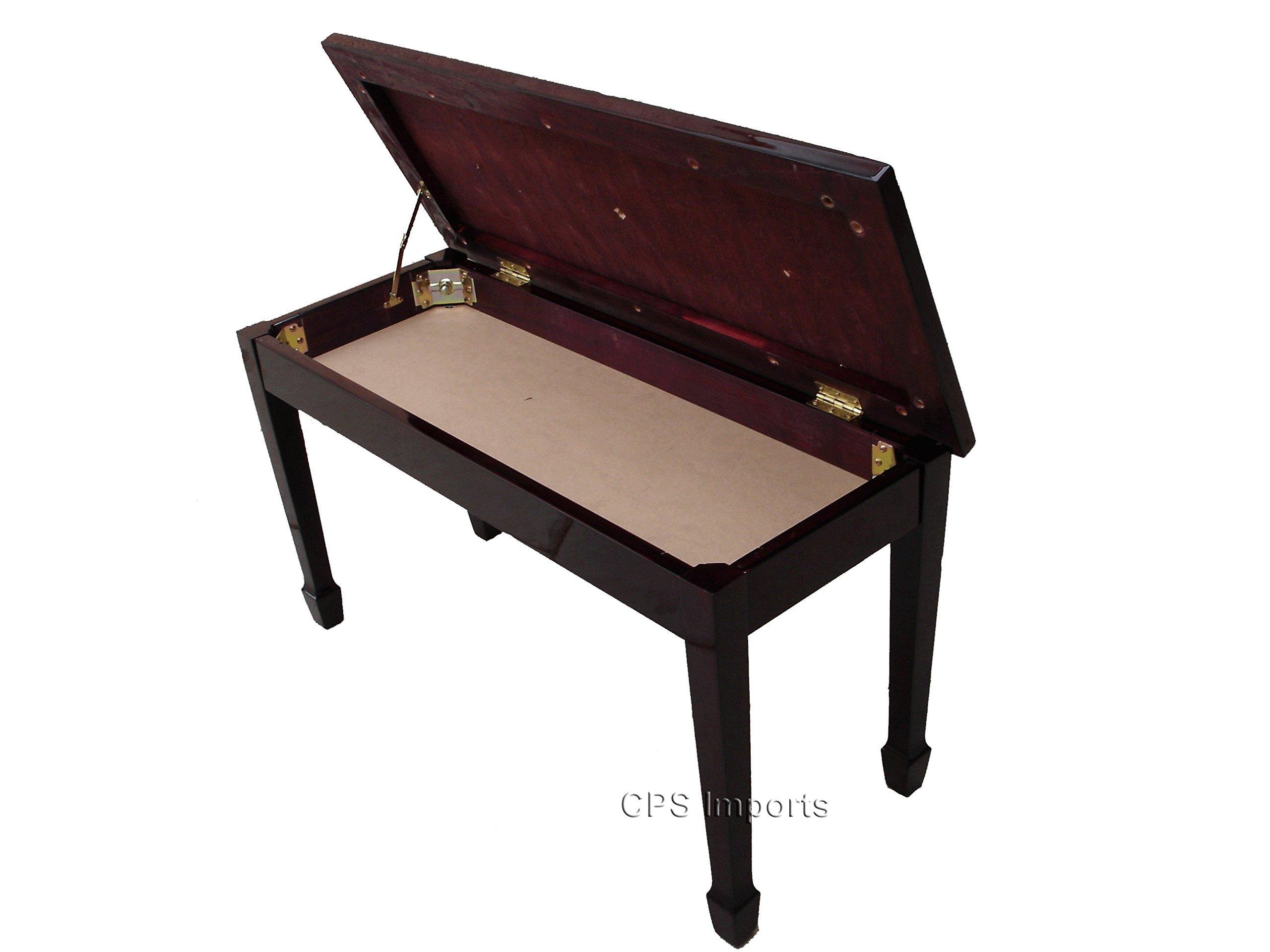 Mahogany Grand Piano Bench with Music Storage