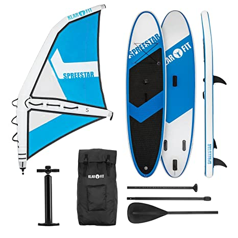 Klarfit Spreestar WS • Paddle Surf con o sin Vela • Tabla Sup Hinchable • Set