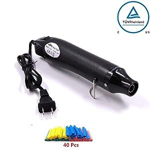 Heat Gun,mofa Hot Air Gun Tools Shrink Gun with Stand For DIY Embossing And Drying Paint Multi-Purpose Electric Heating Nozzle 300W 110V (Black,Black)