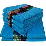 Dyckhoff 756496400, 6 teilig, Fische, blau Qualität, 450 g/m², 2 Badetücher, Duschtücher 70 x 140 cm und 4 Handtücher 50 x 100 cm, 100 % Baumwolle