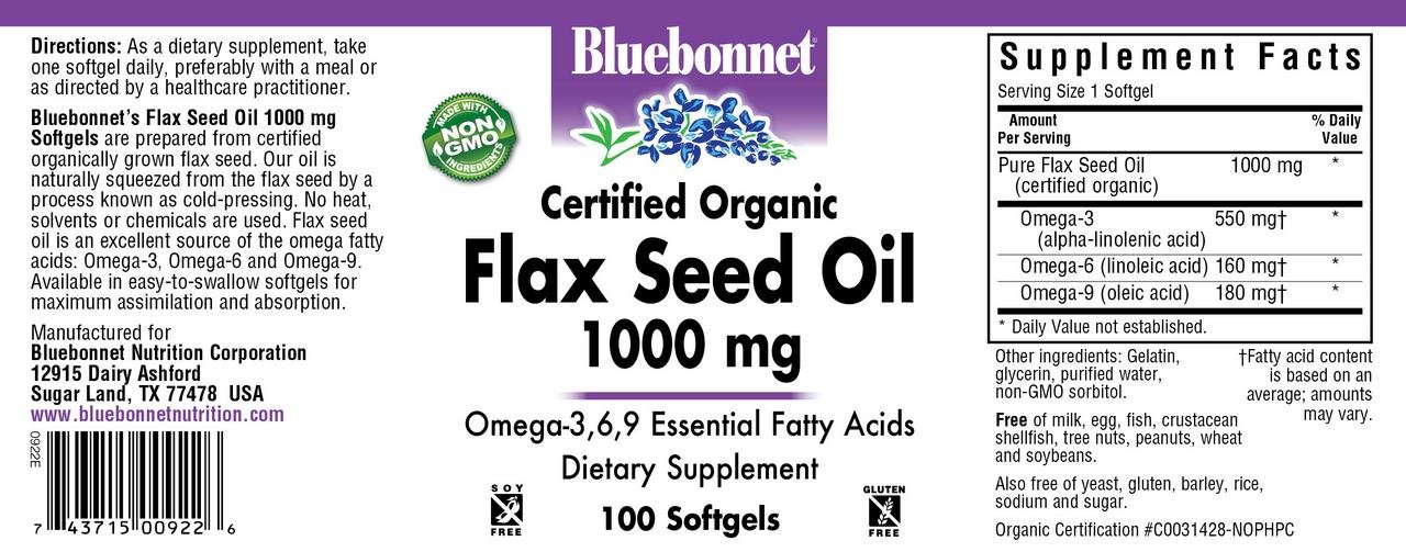 Bluebonnet Nutrition, Flax Seed Oil 1000 Mg, 100 Count