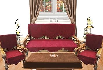Buy Royalina Maroon Embossed 5 Seater Net Sofa Cover Set 10
