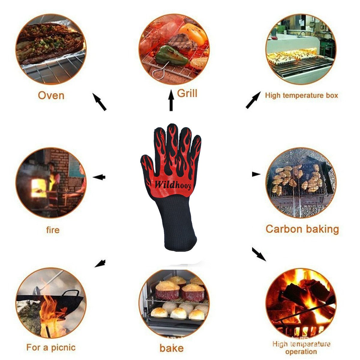 Wildhooy BBQ Grillant Gants 932F Extr/ême R/ésistant /À La Chaleur Gants Double 1 Paire Mitaines De Four Gants De Cuisine BBQ pour La Cuisson Cuisson Accessoires De Cuisine en Plein Air Griller